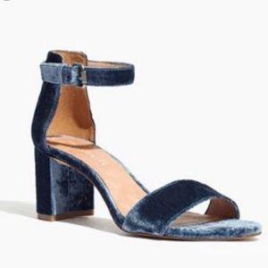 """Madewell velvet blue """"Lainy"""" sandals"""